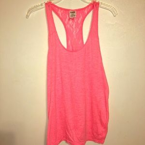 Victoria's Secret Pink Lace Back Tank Top Small